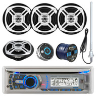 "Dual AMB600W Marine Boat Bluetooth CD/MP3 Stereo Receiver Bundle Combo With Waterproof Wired Remote Control + 4X Enrock Black/Chrome 6.5"" Stereo Speakers + Radio Antenna + 50Ft 16g Speaker Wire"
