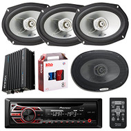 "Pioneer DEH150MP Single DIN Car Stereo Bundle - 2 Sets Of Alpine SXE6925S 6x9"" 280 Watts Coaxial Car Speaker - Audiobahn 900 watts 4 channel Car Audio Stereo Amplifier - Boss KIT2 Amp Installation Kit"
