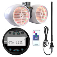 "Pyle PLMR90UW Waterproof Bluetooth Marine Gauge Style MP3 Media Receiver Bundle Combo With 8"" Inch 600 Watt Dual Wakeboard Multi Color LED Light Boat Tower Speakers + Enrock 22"" AM/FM Radio Antenna"