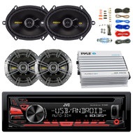 "JVC KDR480 Car Radio USB AUX CD Player Receiver - Bundle Combo With 2x Kicker CS654 6.5"" 300W 2-Way Coaxial Speakers + 2x 6x8"" 450W Speaker + 4-Channel Bluetooth Amplifier + Amp Kit"