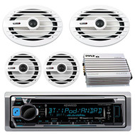 "Kenwood KMRD368BT MP3/USB/AUX Marine Boat CD Player Receiver Bundle Combo With 2x MB-Quart NKF116 6.5"" Inch 200W Coaxial Speakers + 2x NKF692 6x9"" 260W White Speakers + 400-Watt 4-Channel Amplifier"
