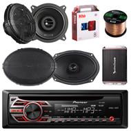 """Pioneer DEH-150MP Single DIN Car Stereo Bundle - 2 Car Speakers 5.25"""" - 2 Speakers 6x9 - Rockford Fosgate 4-Channel Amplifier - Boss Audio KIT2 8g Amp Installation Kit - 1 Enrock 50 Foot Speaker Wire"""