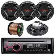 "Clarion CZ102 Single-DIN CD/MP3/WMA AUX Car Stereo Receiver Bundle Combo With 4x CS-DR620 DR Sereis 6.5"" Inch 300 Watt 2-Way Upgarde Audio Stereo Coaxial Speakers + 50 Foot 16 Guage Speaker Wire"