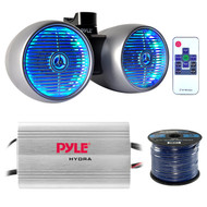 "Marine Speaker And Amp Combo: Pyle PLMRMP3A 4 Channel 1200 Watt Waterproof MP3 Power Amplifier Bundle With 6.5"" 400W Dual Wakeboard Waterproof LED Silver Tower Speakers + Enrock 50Ft 16g Speaker Wire"