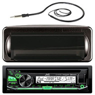 "JVC KD-R97MBS In-Dash Marine Boat Bluetooth Radio USB CD Receiver Bundle Combo With Jensen Marine MRH211B Black Water Resistant Housing + Enrock EKMR1 Water Resistant 22"" Inch Radio Antenna"