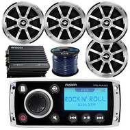 "Fusion MS-RA50 AM/FM AUX iPod Bluetooth Ready Marine Boat Stereo Bundle Package With 4x Jensen MSX60CPR 6.5"" Coaxial Speakers + Enrock 400W 4-Channel Bluetooth Amplifier + 50 Ft 16-Gauge Speaker Wire"