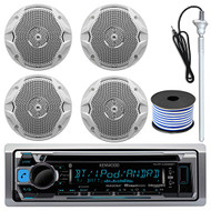 "Kenwood KMR-D368BT MP3/USB/AUX Bluetooth Marine Boat Yacht Stereo Receiver CD Player Bundle Combo With 4 (2 Pairs) JBL MS6510 150 Watt 6.5"" Dual Cone White Marine Speaker + 18g 50FT Speaker Wire"