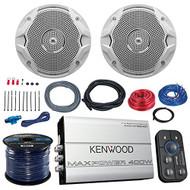 "Marine Amp And Speaker Combo Of 2x JBL MS6510 6.5"" Inch 150w White Boat Speakers Bundle With Kenwood 400-Watt 4-Ch. Waterproof Bluetooth Amplifier + Boss KIT2 Amp Install Kit + Enrock 50Ft 16g Wire"