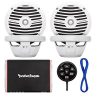 "Marine Speaker And Amp Combo Of 4x Rockford Fosgate RM0652 6.5"" Marine Audio Speakers Bundle With a 300-Watt 4-Channel Boosted Rail Amplifier W/ Bluetooth preamp controller + 50Ft 16g Speaker Wire (Black)"