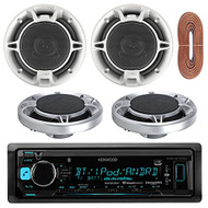 """Kenwood KMMBT322U Single DIN Bluetooth In-Dash Car stereo Receiver With 2 Pairs Of Jensen JS652 50W 6.5"""" Inch 2-Way Coaxial Car Audio Speakers And Enrock 50 Feet 16g Speaker Wire"""