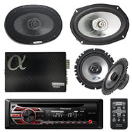 "Pioneer DEH150MP Single DIN Car Stereo Bundle - 2 Alpine 6x9"" Car 2-way Speaker - 2 Alpine 6.5"" Car Component Speaker + 4 channel Audio Stereo Amplifier + Boss KIT2 Amp Installation Kit"