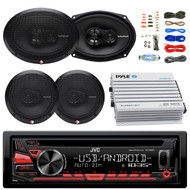 "JVC KDR480 Car Radio USB AUX CD Player Receiver - Bundle Combo With 2x Rockford Fosgate 6.5"" Inch 180 Watt & 2x 6x9"" 260-Watts 3-Way Coaxial Speaker + 4-Channel Bluetooth Amplifier + Amp Kit"