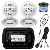 Pyle PATVR10 MP3 Bluetooth Marine Boat Yacht Stereo Receiver Bundle Combo With 4x White 5-1/4'' Inch Dual Cone Waterproof Stereo Speaker + Enrock Radio Antenna + USB/AUX To RCA Cable +18G 50-FT Wire