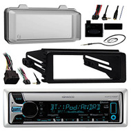 Kenwood KMR-D765BT Marine Radio Stereo Receiver - 1998 2013 Harley Davidson Motorcycle Touring Flht Flhx Flhtc Bundle With Metra Adapter Dash Kit + Radio Cover + Steering Control + Enrock Wire Antenna