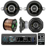 "Pyle PLR34M In Dash AM FM Car Stereo Receiver, Bundle Kit With 2 X Kicker 40CS654 6.5"" 300w Car Stereo Speaker + 2X 40CS354 90w 3.5"" 4 Ohm Audio Coaxial Speaker + Enrock 50ft Speaker Wire"