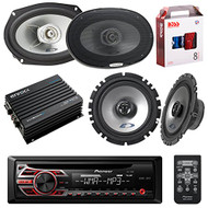 Pioneer DEH150MP DIN Car Stereo Kit Bundle with 2 Alpine 6x9-Inch 2-way Speakers, 2 Alpine 6.5-Inch 2-Way Coaxial Speakers, Enrock 4 channel Audio Amplifier and Boss KIT2 Installation Kit