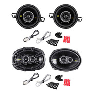 "Package: Pair of Kicker 40CS354 3.5"" 4-Ohm 2-Way Car Audio Coaxial Speakers Totaling 180 Watt + Pair of Kicker 40CS6934 CS693 6""x9"" 6x9 4-Ohm 3-Way Car Audio Coaxial Speakers Totaling 900 Watt"