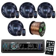 "Pyle PLR34M In Dash AM FM Car Receiver With MP3 Playback & USB, SD, Aux, Inputs, Bundle Kit With 4x Autotek ATS65C ATS 6.5"" Car Audio Speakers + Enrock 50ft 16g Speaker Wire"