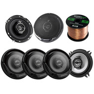"3 Pairs Car Speaker Package Of 4x Kenwood KFC-1365S 5-1/4"" 2-Way 250-Watt Flush Mount Black Car Coaxial Speaker + 2x KFC1695PS 6-1/2"" 3-way 320 Watt Car Speakers + Enrock 18g 50 Feet Speaker Wire"