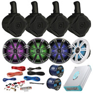 "Marine Speaker Package 4 Kicker 41KM654LCW 6.5"" Boat Coaxial LED Speaker + 4 Black AQWB65B 6.5"" Marine Wakeboard Speakers + Lanzar 4800w Bluetooth Amp With Install Kit + Enrock 100ft Speaker Wire"