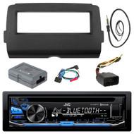 JVC KD-RD87BT Bluetooth iPod Android USB/MP3/WMA CD Player Stereo Receiver, Scosche HD7001B Stereo Din Installation Dash Kit, Scosche HDSWC2 Handlebar Controller, EKMR1 Enrock Marine Black Wire Antenna