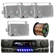 200 Watts Digital AM/FM Stereo Receiver, PLMR24S Pyle 3.5'' 200 Watt 3-Way Weather Proof Mini Box Speaker System (Silver), Enrock Audio 16-Gauge 50 Foot Speaker Wire