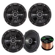 "Kicker 41DSC654 6-1/2"" 6.5"" D-Series 240W Peak/60W RMS 2-Way Car Speakers, Enrock Audio 16-Gauge 50 Foot Speaker Wire"
