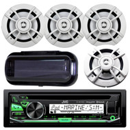 "JVC KD-R97MBS Marine Yacht Bluetooth CD MP3 SiriusXM Ready Stereo Player Receiver Bundle Combo With 4x Kenwood 6.5"" Inch 200-Watt 2 Way Boat Audio Speakers, Enrock Waterproof Stereo Protective Cover"
