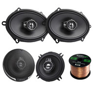 "2 Pair Car Speaker Package Of 2x Kenwood KFC-C5795PS 5x7"" Inch 360-Watt Black Custom Fit Black Car Coaxial Speakers + 2x KFC-1395PS 5 1/4 320-Watt Audio Speaker + Enrock 16g 50 Foot Speaker Wire"