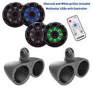 Kicker 6.5 Inch KM-Series Marine Speaker Bundle 41KM84LCW with Dual Black Wake Tower Enclosures and LED Remote