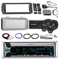 "Harley Audio Package Of Kenwood KMR-D765BT Bluetooth CD MP3 Stereo Receiver Bundle Combo With Dash Trim Kit + Radio Cover + 4x 5.25"" Speaker + 4 Channel Amplifier W/ Install Kit + HandleBar Conroller"