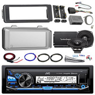 "Harley Audio Package Of JVC KDX35MBS Marine Radio Stereo Receiver Bundle Combo With Dash Trim Kit + Radio Cover + 2x 5.25"" Speakers + 2 Channel Amplifier W/ Install Kit + Handle Bar Conroller"