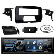 "JVC KD-AV41BT 3"" Single-Din Car Receiver with Bluetooth, DVD, USB, Remote and IPhone Control, Metra 999700 Dash Kit 2014-up Harley Davidson Motorcycles, EKMR1 Enrock Marine Black Wire Antenna"