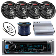 "Kenwood KMR-D368BT Marine Boat Yacht Radio Stereo CD Player Receiver Bundle Combo With 4x JVC CS-DR6200M 6.5"" 2-Way Coaxial Speakers + 360-Watt Amplifier + Enrock Radio Antenna + 50 Foot 16g Speaker Wire …"