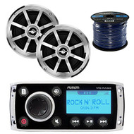 "Fusion MS-RA50 AM/FM AUX iPod Bluetooth Ready Marine Boat Yacht Radio Stereo Receiver Bundle Combo With 2x Jensen MSX60CPR 6.5"" Inch 2-Way Coaxial Speakers + Enrock 50 Foot 16g Speaker Wire"