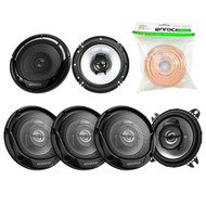 "3 Pairs Car Speaker Package Of 4x Kenwood KFC-1065S 4"" Inch 210-Watt 2-Way Sport Series Flush Mount Coaxial Speakers + 2x KFC-1665S 6 1/2"" 2-Way Black Car Speakers + Enrock 18g 50 Feet Speaker Wire"