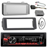 JVC KDR480 Stereo CD Receiver Radio - Bundle with Installation Dash Kit + Handle Bar Control Module + Weathershield Cover + Enrock Wire Antenna for 1998 2013 Harley Touring Motorcycle Bikes