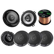 "3 Pairs Car Speaker Package Of 2x Kenwood KFC-1365S 5-1/4"" 250-Watt 2-Way Sport Series Flush Mount Coaxial Speakers + 4x KFC1695PS 6-1/2"" 3-way 320 Watt Car Speakers + Enrock 18g 50 Feet Speaker Wire"