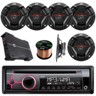 "Clarion CZ102 CD/MP3/WMA AUX Car Stereo Receiver Bundle Combo With 6x JVC CS-DR620 6.5"" 2-Way Vehicle Coaxial Speakers + Dual XPE4700 800-Watt 4 Channel Amplifier + 50 Feet 16-Gauge Speaker Wire"