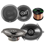 "Car Speaker Package Of 2X Lightning Audio by Rockford Fosgate L57 5x7"" 3-Way + 2x L675S 6-3/4"" Inch Black Full Range 4 OHM Car Coaxial Speakers Bundle Combo With Enrock 50 Foot 16 Guage Speaker Wire"