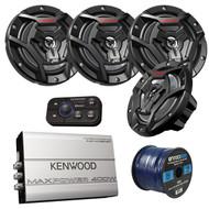 "Marine Speaker And Amp Package: 4x JVC CS-DR6200M 100-Watt 6.5"" 2-Way Coaxial Speakers Bundle Combo With Kenwood 320-Watt 4-Channel Waterproof Bluetooth Amplifier + 50Ft 16g Speaker Wire"