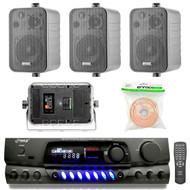 """Pyle PT260A 200-Watt 2-Channel Digital AM/FM Radio Stereo Amplifier Receiver, Bundle Combo With 4x Enrock EKMR408B 4"""" Inch 200-Watt 3-Way Black Box Speakers + 50 Feet 18-Gauge Speaker Wire"""