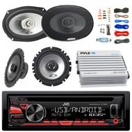 "JVC KDR480 Car Radio USB AUX CD Player Receiver - Bundle Combo With 2x Alpine 6.5"" 80W 2-Way Coaxial Car Speakers + 2x 6x9 Inch 280W Black Speaker + 4-Channel Bluetooth Amplifier + Amp Kit"