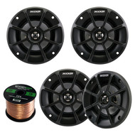 "2 Pairs (Total Of 4) Kicker 40PS42 4"" Inch Weather-Proof Powersports Vehicles 2-Way 2-Ohm Coaxial ATV, Motorcycle, Marine, Boat, Speakers"