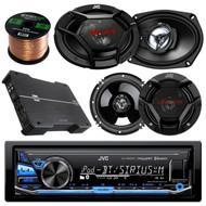 "JVC KDX330BTS AM/FM USB AUX Car Stereo Receiver Bundle Combo With 2x JVC CSDR6930 6x9"" 3-Way Vehicle Coaxial Speakers + 4x CSDR620 6.5"" Audio Speaker + Dual XPE4700 800w Amplifier + 50Ft 16G Speaker Wire"