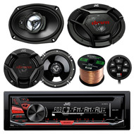 "JVC KDR370 CD/MP3/WMA Receiver With Wired Remote Control Bundle Combo With 2x CSDR6930 6x9"" 3-Way Vehicle Stereo Coaxial Speakers + 2x CSDR620 6.5"" 2-Way Audio Speaker + Enrock 50Ft 16g Speaker Wire"