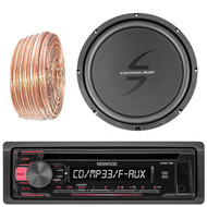 Kenwood KDC118 Car CD Player Receiver USB AUX Radio - Bundle Combo With 12-Inch Dual 4-Ohm Single Voice Coil Subwoofer + Enrock 50 Foot 18 Gauge Wire
