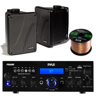 "Amp And Speaker Combo Packge: Pyle PDA6BU Bluetooth Radio USB AUX Amplifier Stereo Receiver Bundle With 2x Kicker KB6000B 6.5"" Full Range Bookshelf Waterproof Speaker + Enrock 50ft 16g Speaker Wire"
