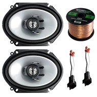 "Car Speaker Combo Of 2x Kenwood KFC-C6865S 6x8"" 250 Watt 2-Way Stereo Coaxial Speaker Bundle With 2x Metra 72-5600 Speaker Connector for Ford, Lincoln, Mazda, Mercury, + Enrock 50ft 16g Speaker Wire"