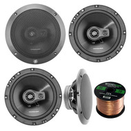 "Car Speaker Package Of 2 Pairs of Lightning Audio by Rockford Fosgate L675-S 6-3/4"" Inch 3-Way 80-Watt Black Full Range 4 OHM Car Coaxial Speakers Bundle Combo With Enrock 50 Foot 16-G Speaker Wire"